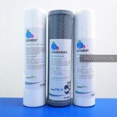 Комплект картриджів Leader 1-2-3 з кокосовим вугіллям для попереднього очищення води