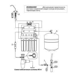 Схема подключения фильтра для воды Leader RO-6